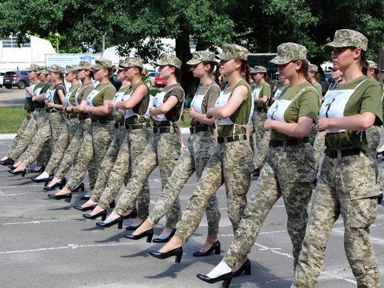 Ukrainian female soldiers wear heels