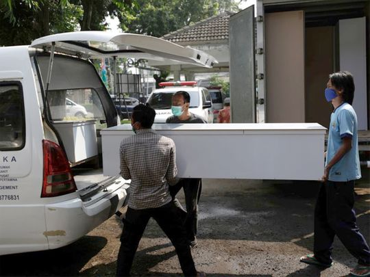 coffins for COVID-19 victims