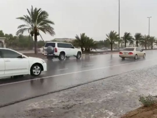 Heavy rainfall in some parts of Abu Dhabi on July 6, 2021.