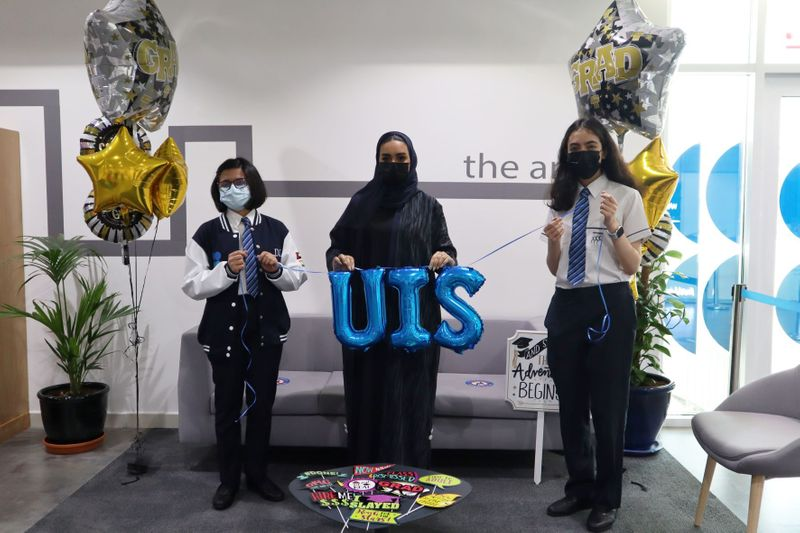 UIS students Durga Chandrashekhar, Shaikha Alnaqbi, Tala Daher-1625579425624