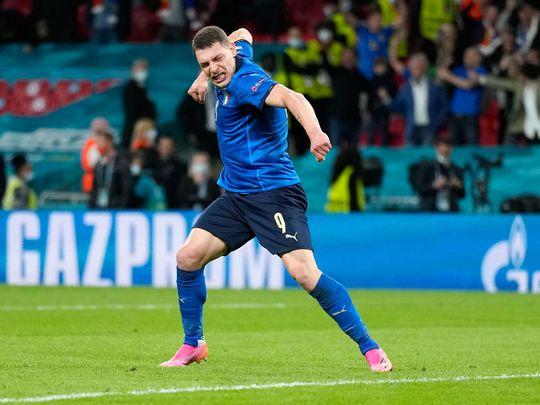 Andrea Belotti celebrates win for Italy over Spain in Euro 2020 semi-final