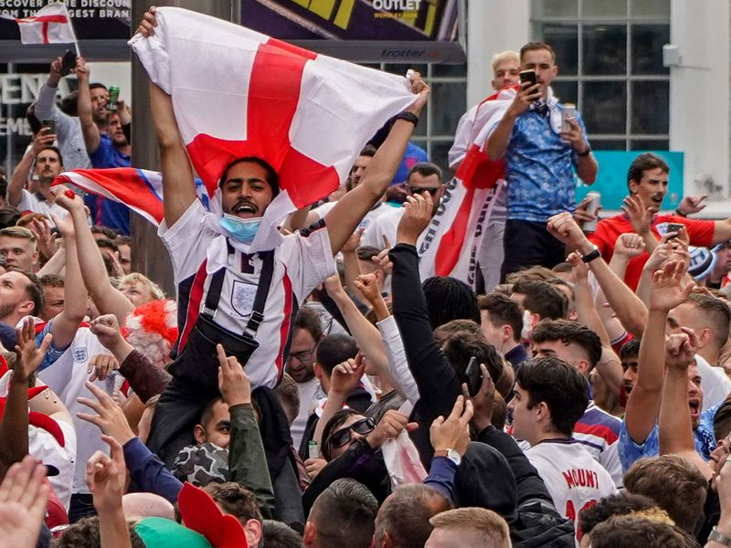 England fans in party mode before the game