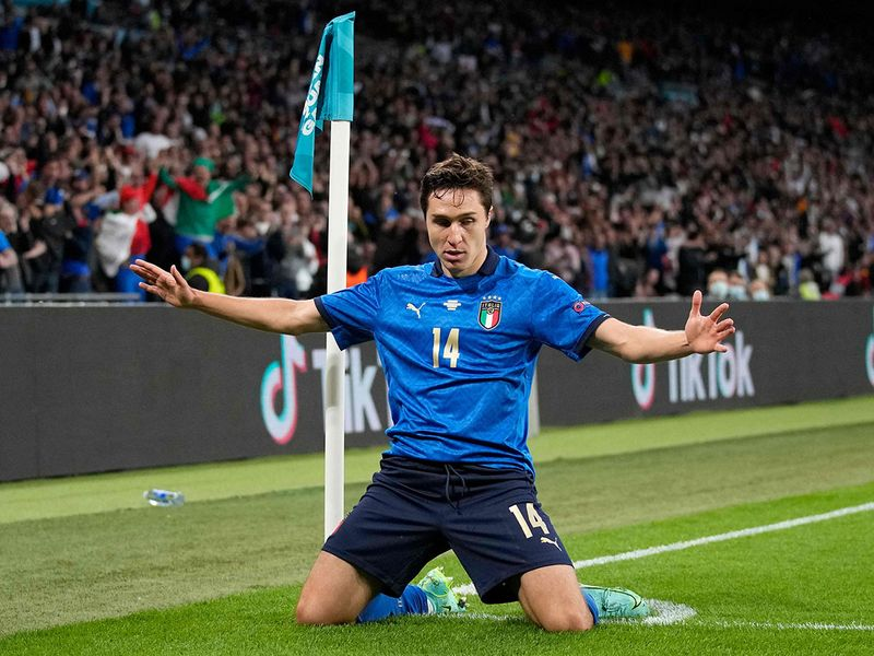 Italy's midfielder Federico Chiesa celebrates his goal during the Euro 2020 semi-final against Spain