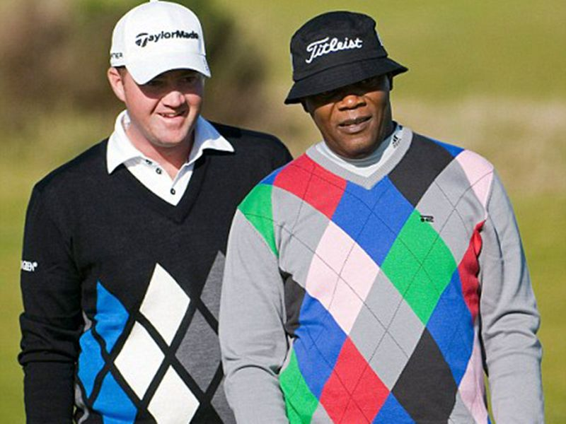 Samuel L Jackson on the golf course at Kingsbarns