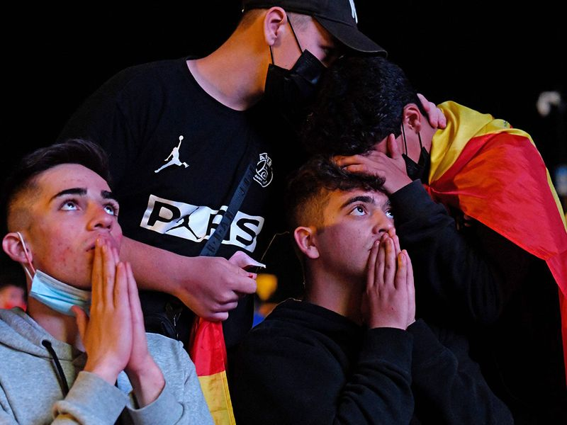 Spain fans after the loss to Italy