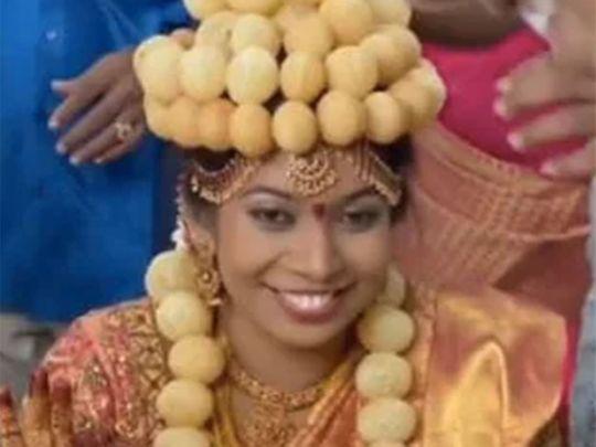 Bride Gets Decked Up In Pani Puri Garland, Crown & Bracelet