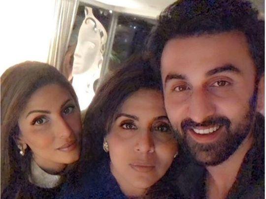 Neetu Kapoor with her children Ranbir and Riddhima
