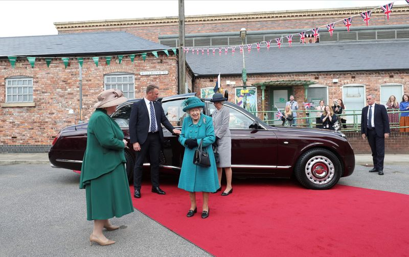 Britain's Queen Elizabeth II arrives to visit the set of the long running television series Coronation Street in Manchester, northwest England on July 8, 2021.