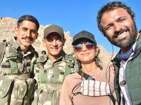 Naga Chaitanya with actor Aamir Khan, co-producer Kiran Rao and director Advait Chandan on the set of 'Laal Singh Chaddha'