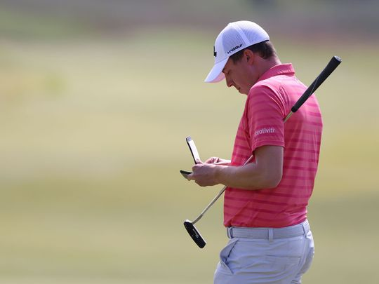 Matt Fitzpatrick with have one on the clock during the fourth round in North Berwick