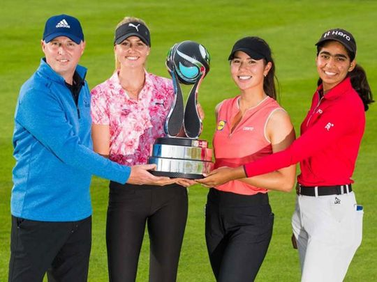 Aramco Team Series winners Olivia Cowan, Andrew Kelsey, Sarina Schmidt and Diksha Dagar