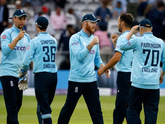 England's Ben Stokes celebrates with Lewis Gregory after victory in the second ODI over Pakistan at Lord's