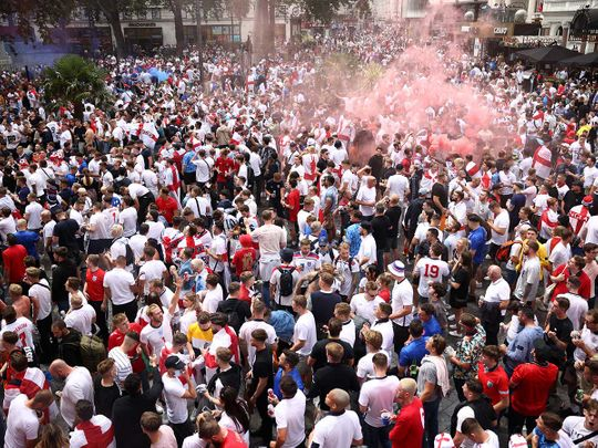 Leicester Square Euro Cup England fans