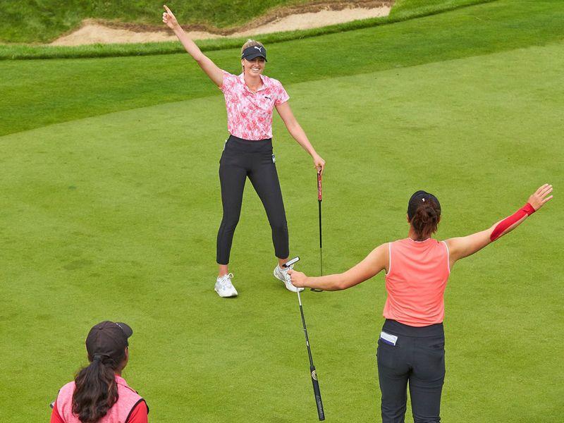 Olivia Cowan celebrates the winning moment