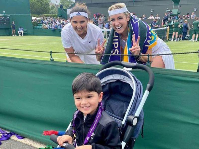 Sania Mirza with her child Izhaan Mirza Malik at the recent Wimbledon Championship