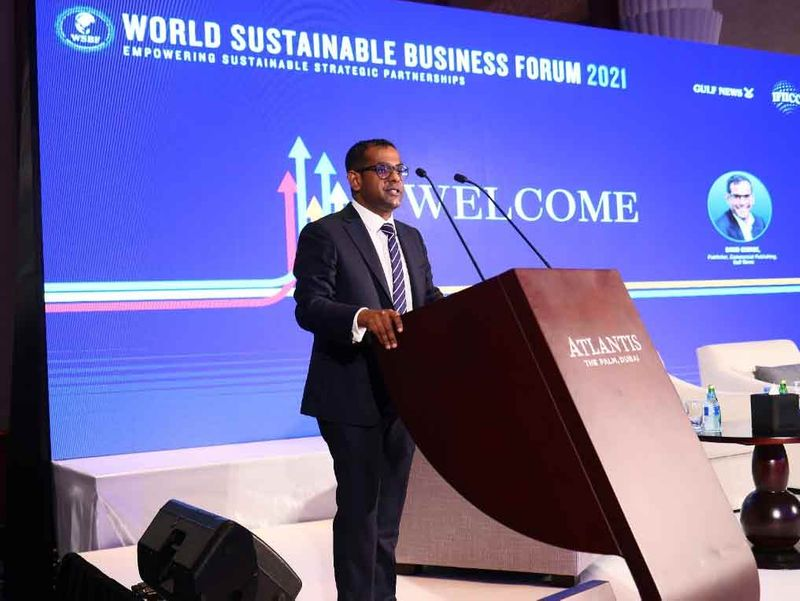 David George, Publisher, Commercial Publishing, Gulf News, delivers the welcoming speech at the World Sustainable Business Forum 2021 taking place at The Atlantis Dubai on 12th July, 2021.