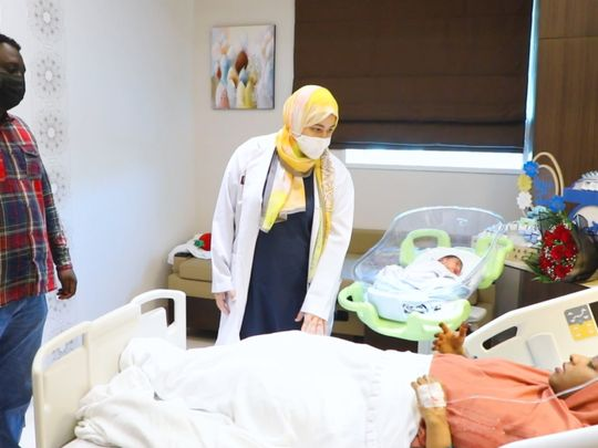 Dr. Mona is interacting with the patient and checking on her health conditions-1626068068747