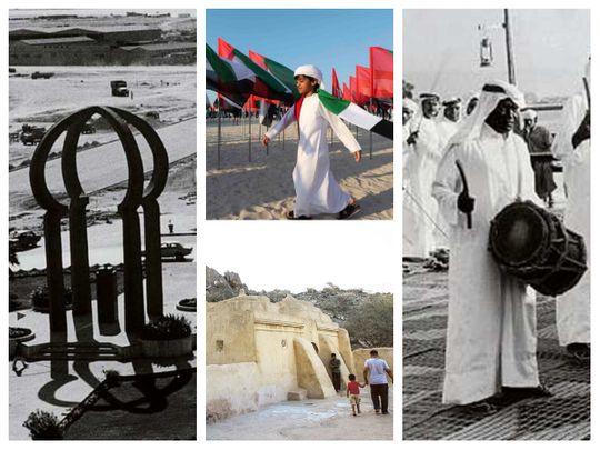 Flame rounabout, UAE flags, Ras Al Khaimah drummers and Al Bidiya Mosque