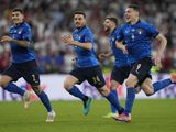Italy players celebrate the penalty shootout win over England