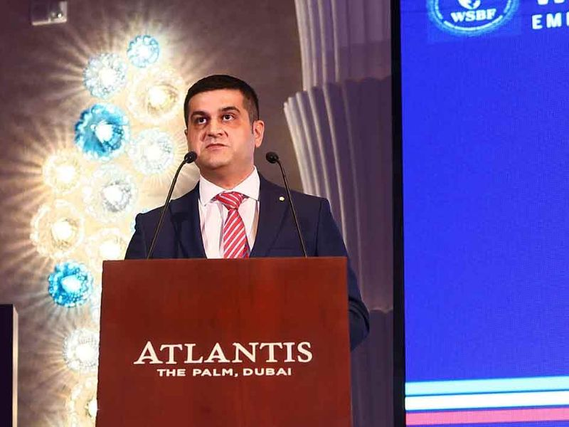Merzi Sodawaterwala, Founder & Chairman of IFIICC, delivers a welcoming speech at the World Sustainable Business Forum 2021 taking place at The Atlantis Dubai on 12th July, 2021.