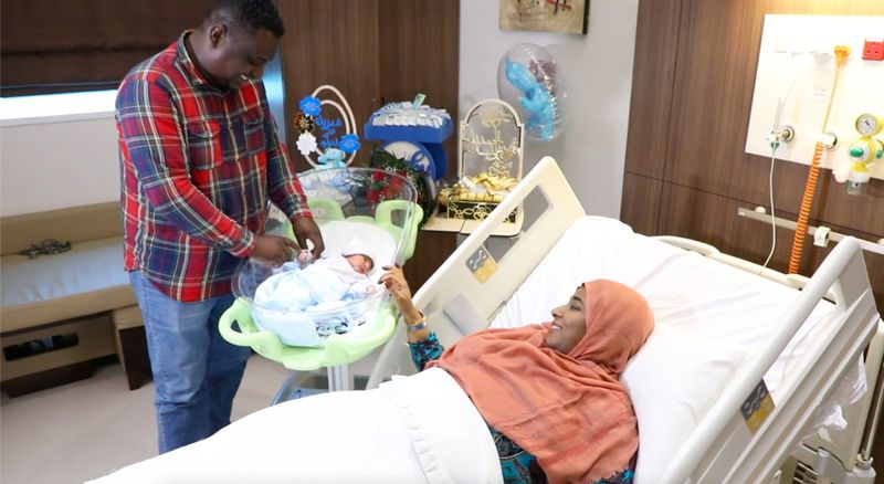 Mohammed and Hint with baby Youssef at Burjeel Specialty Hospital, Sharjah-1626068073362
