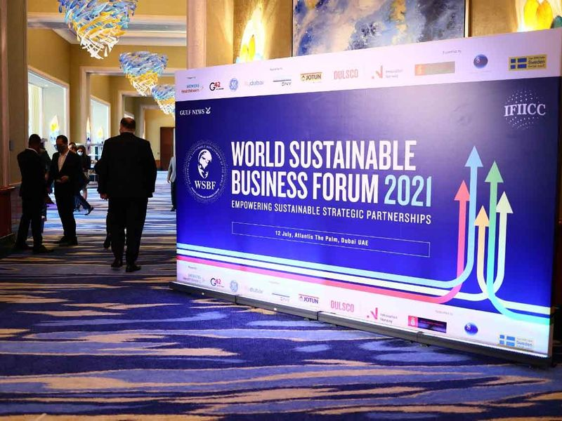 People start to arrive at the World Sustainable Business Forum 2021 taking place at The Atlantis Dubai on 12th July, 2021.