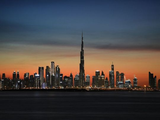 A magnificent view of Dubai skyscrapers from Dubai Creek Harbour