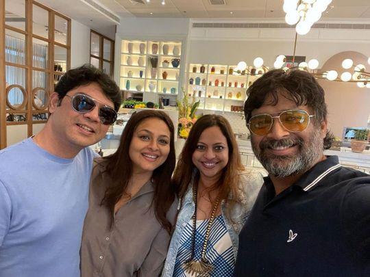 Shilpa Shirodkar ,  Madhavan and his wife Sarita Birje in Dubai