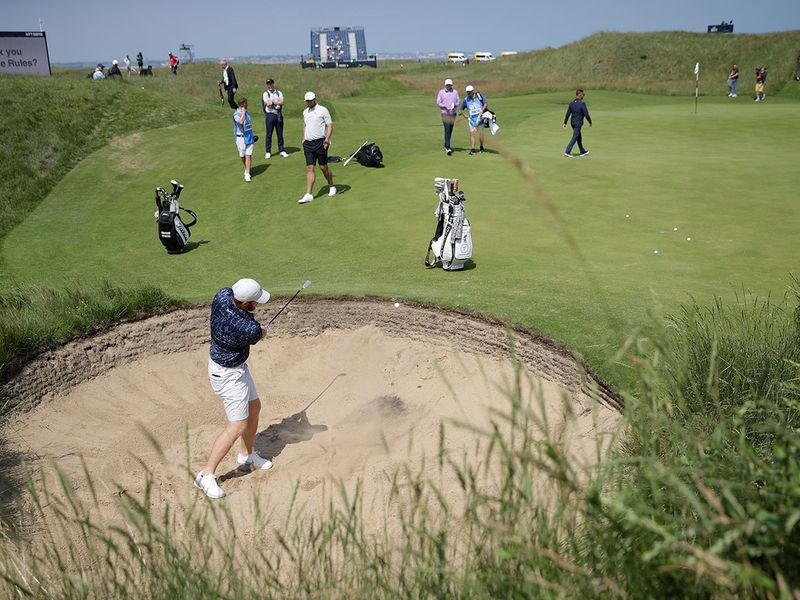 Golfers during a practice round for the Open at Royal St George's