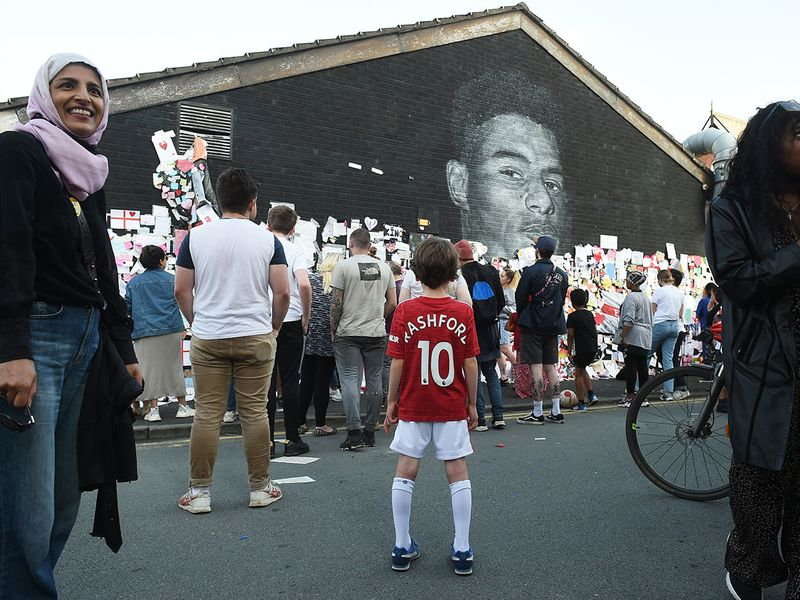 Stand Up to Racism Demonstration at the Marcus Rashford mural after it was defaced following the Euro 2020 Final between Italy and England