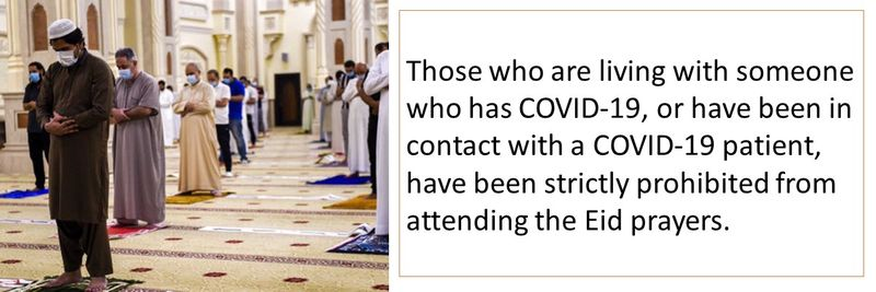 Those who are living with someone who has COVID-19, or have been in contact with a COVID-19 patient, have been strictly prohibited from attending the Eid prayers.
