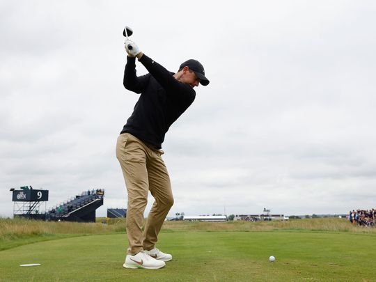 Northern Ireland's Rory McIlroy in action during a practice round ahead of The Open