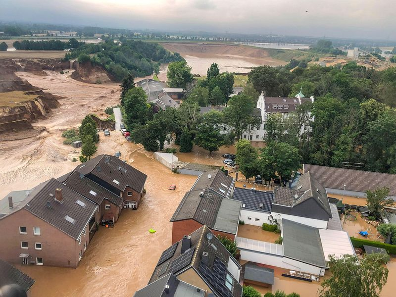 An areal view after flooding at Erftstadt-Blessem, Germany.