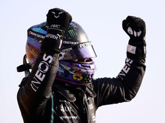 Lewis Hamilton celebrates top spot in British Grand Prix F1 qualifying