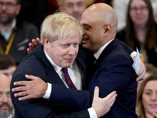 Britain's Prime Minister Boris Johnson Sajid Javid