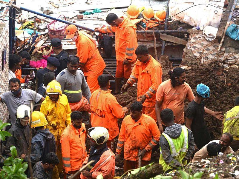 Mumbai rain flood landslide NDRF
