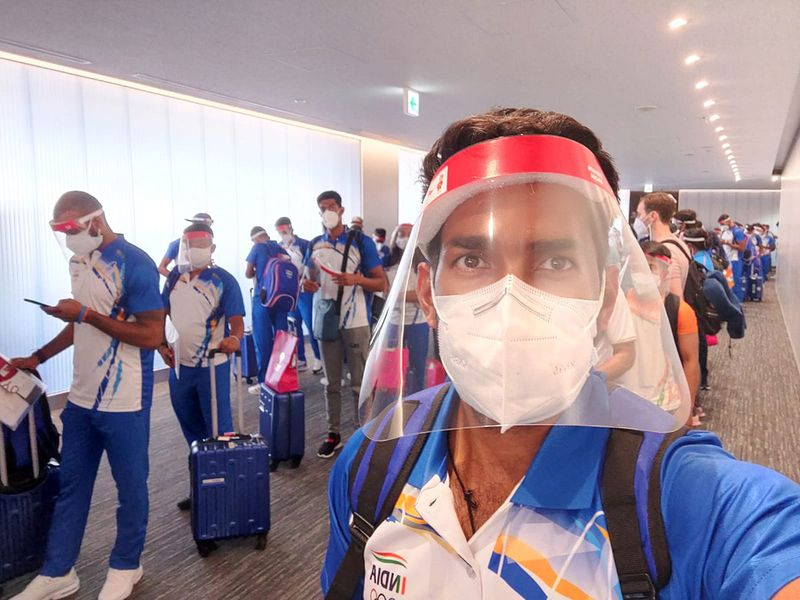 The India hockey team arrive in Tokyo