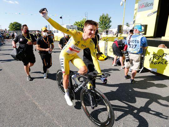 UAE Team Emirates rider Tadej Pogacar celebrates after stage 20 of the Tour de France
