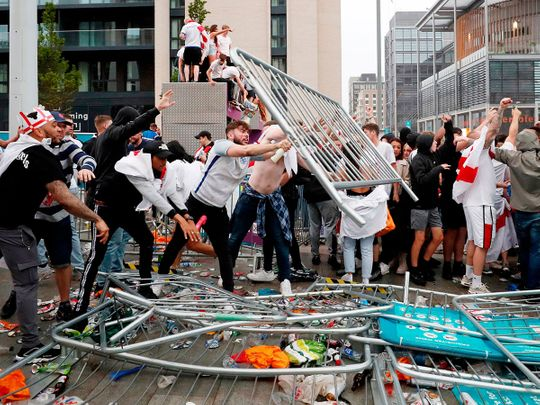 England fans riot in London