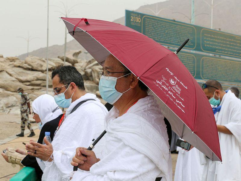 Muslim pilgrims arrive at the plain of Arafat during the annual Haj pilgrimage, outside the holy city of  Mecca, Saudi Arabia July 19, 2021.