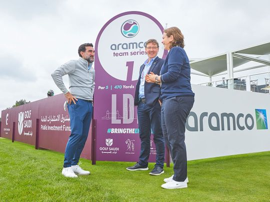 Golf Saudi's Yasir Al Rumayyan, Jonathan Smith and Alex Armas, CEO, Ladies European Tour