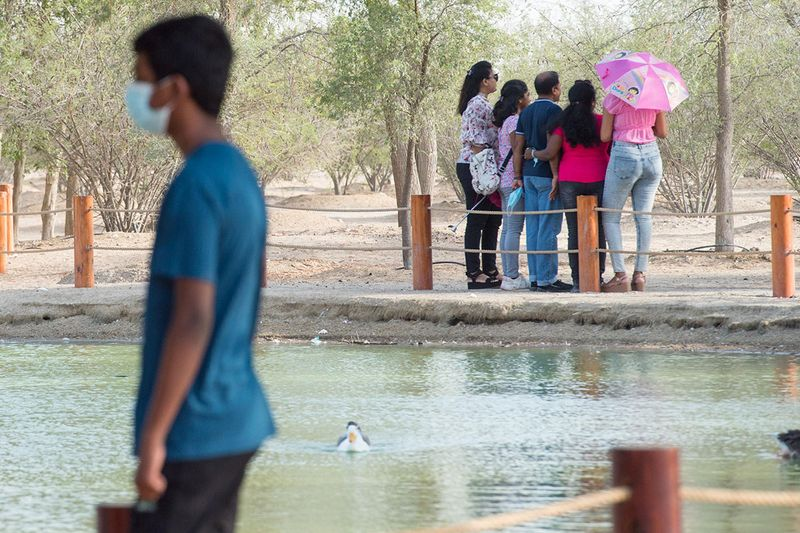 Friends and Family at the AL Qudra Lake during the Eid. Dubai.