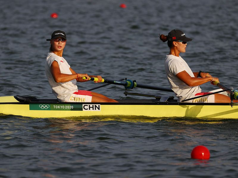 China women's quadruple sculls team on the water