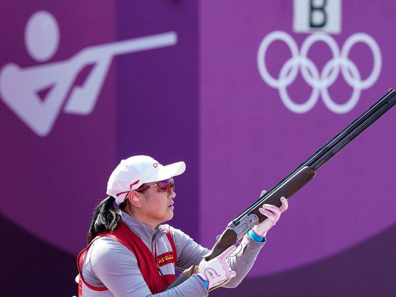 Donglian Zhang, of China, practises at the Asaka Shooting Range