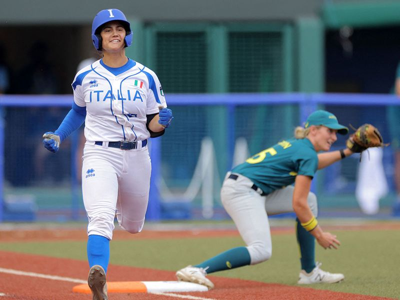 Italy's Giulia Koutsoyanopulos runs past the first base at Fukushima Azuma Baseball Stadium