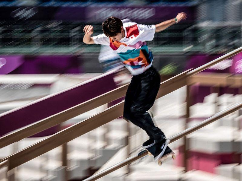 Japan's Yuto Horigome practiaes at Ariake Urban Sports Park