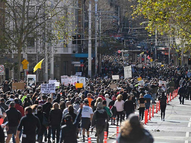 Australia lockdown protest covid