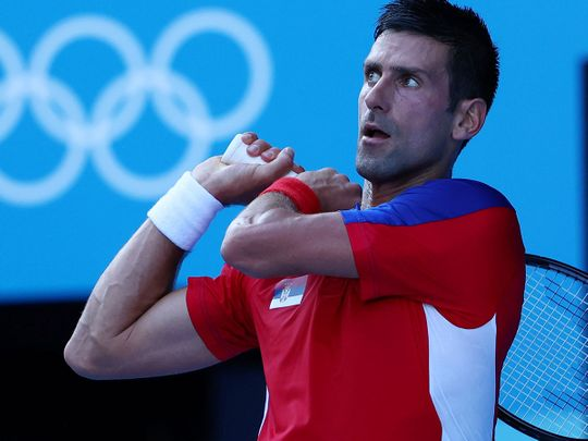 Novak Djokovic of Serbia in action during his first-round match against Hugo Dellien