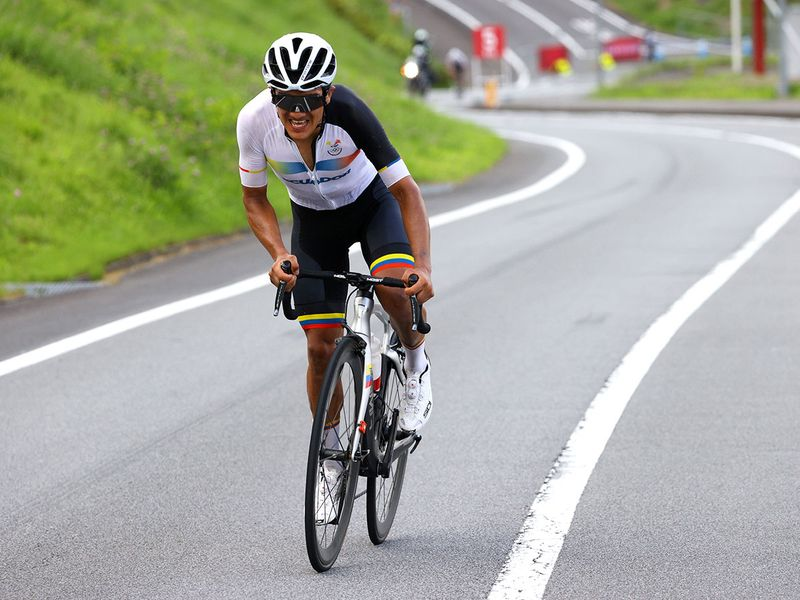 Richard Carapaz of Ecuador in action during the Men's Road Race.