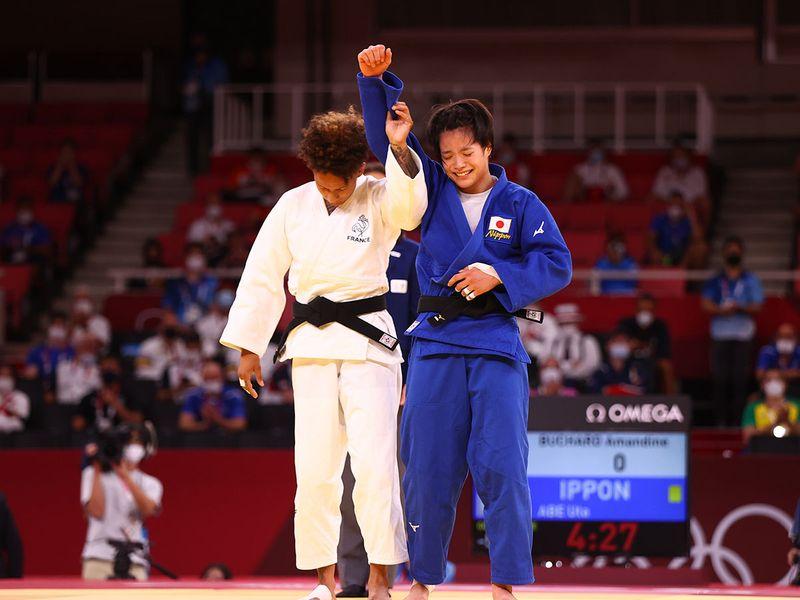 Uta Abe celebrates judo gold